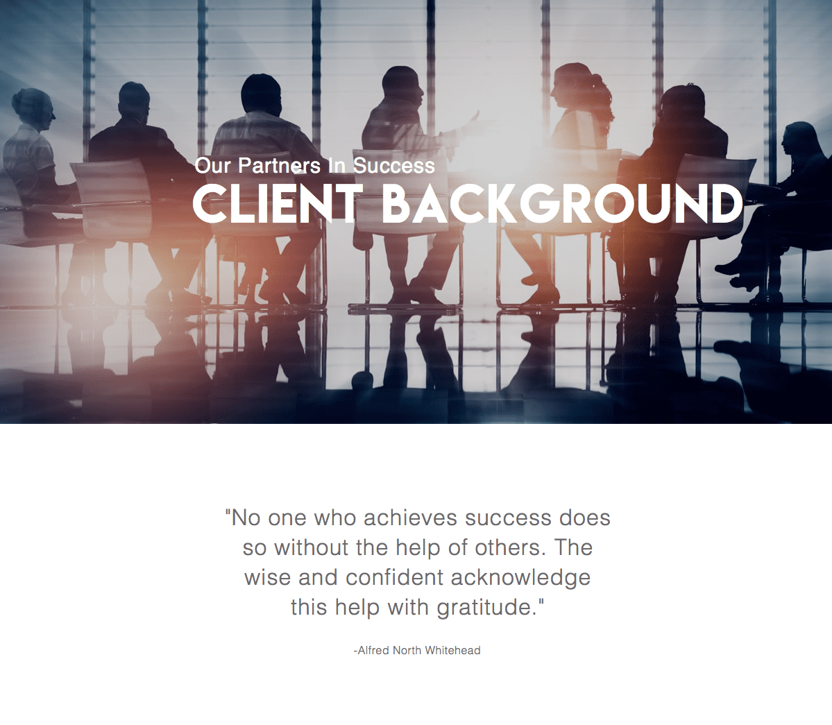 Client Background with Testimonial